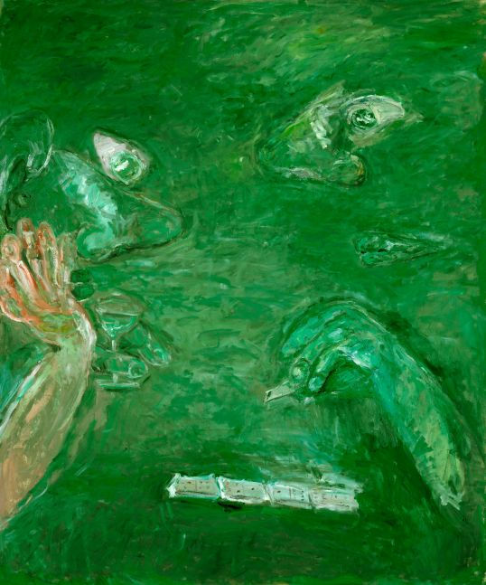 green painting of disembodied arms, noses, eyes and lips playing dominoes