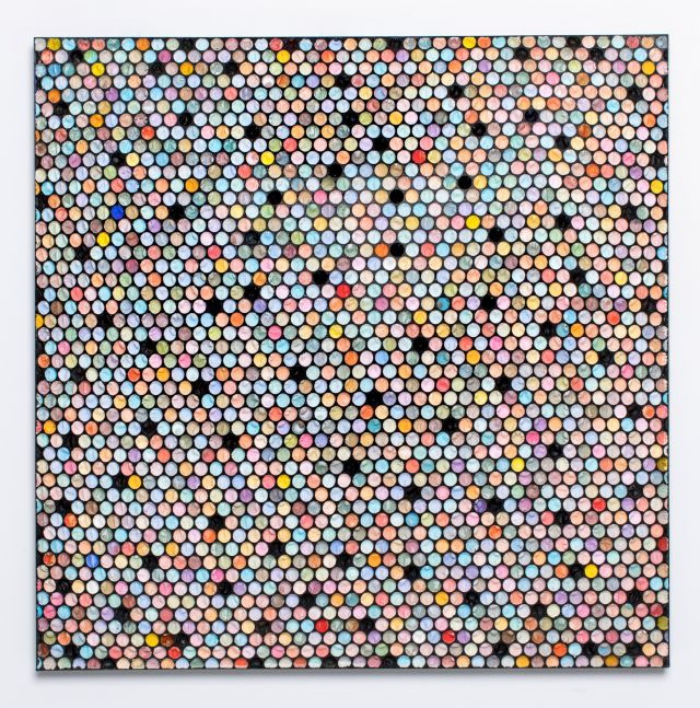 painting of small colorful circles with black circles scattered throughout