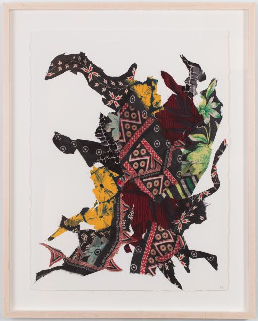 abstract collage on paper made from colorful strips of textiles