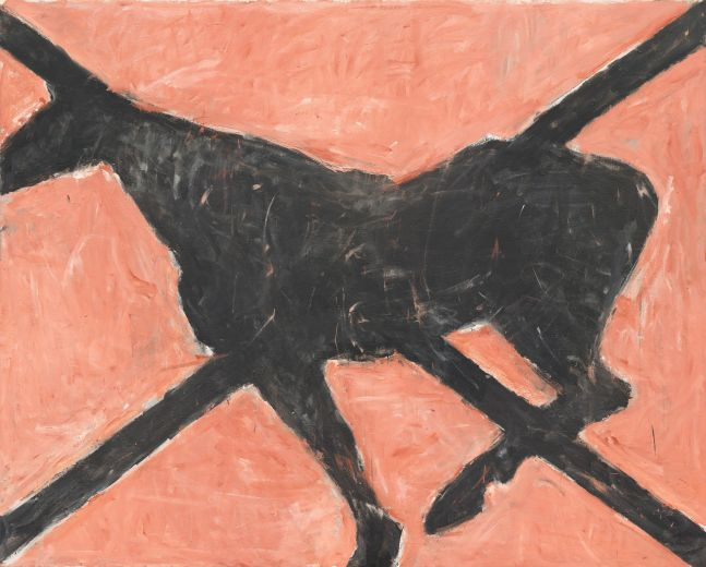silhouette of a horse in motion against a burnt sienna background with intersecting black diagonals