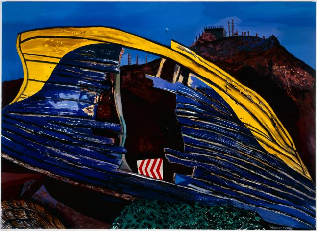 painting of a blue and yellow boat hull damaged and overturned in the foreground and a hill rising in the background