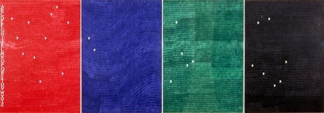 four abstract monochromatic panels in red, blue, green and black