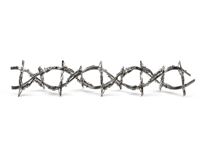 chromed double helix formed by repeating crucifixes