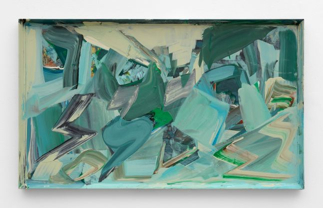 abstract painting in shades of blue and green in a found frame