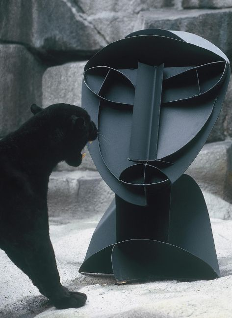a panther growls at a large abstract sculpture of a human bust