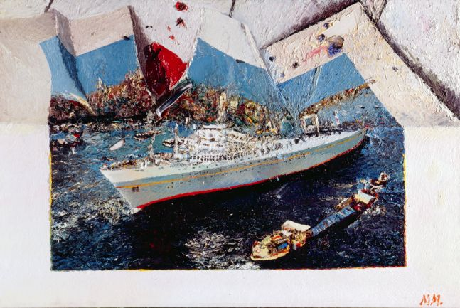 painting of a cruise liner in which a tromp l'oeil effect makes the canvas appear crumpled on the top half, while the bottom remains intact