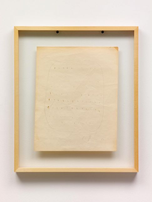 framed graphite on paper work with perforations