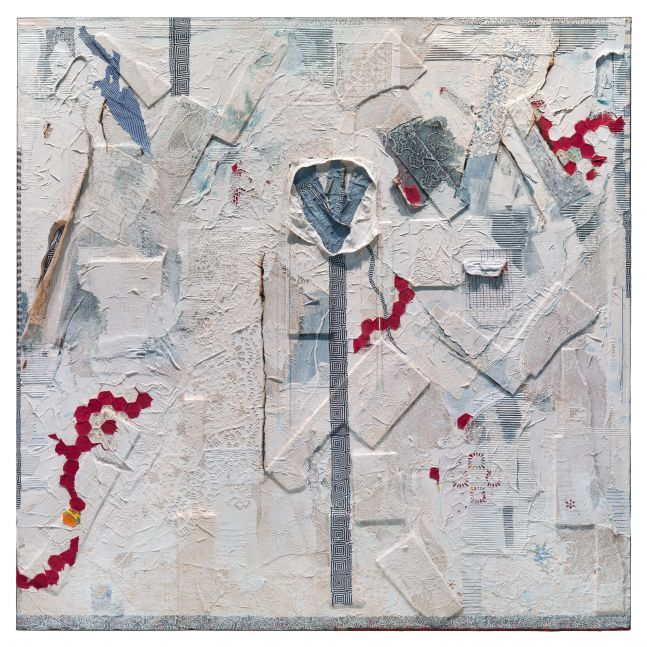 painting collaged with white and blue textiles including lace and prints with a few bits of red fabric scattered throughout