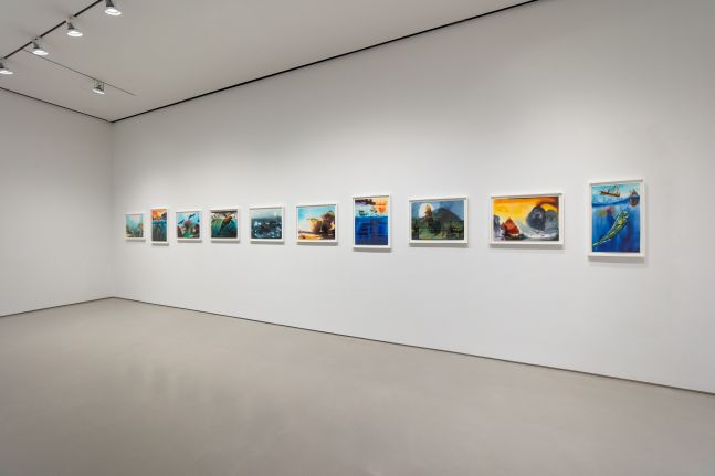 gallery installation view with framed watercolors on paper