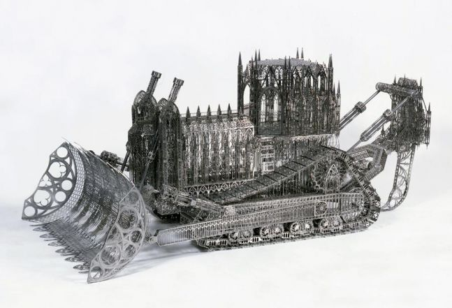 bulldozer sculpture composed in a gothic style with laser cut steel