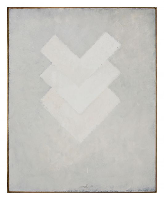 monochromatic white painting with three stacked v-shapes
