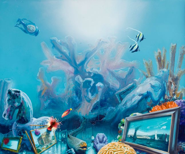 underwater coral reef with paintings and sculptures lost in a shipwreck