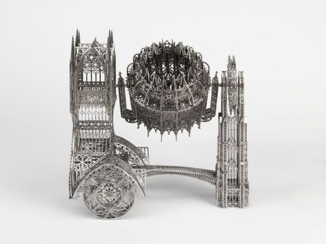 cement mixer sculpture composed in a gothic style using laser cut steel tracery