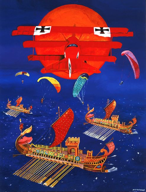 a red biplane flies towards a bright orange sun over Viking ships on the open sea as parachuters drop from the sky overhead