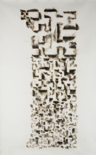 abstract composition of smoke and graphite on paper