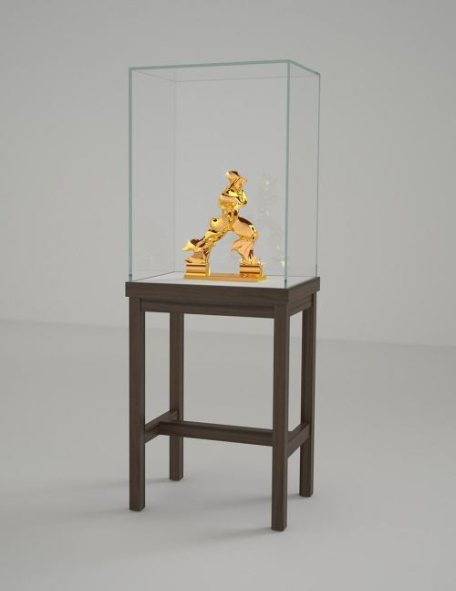 "24 carat gold sculpture of a figure based on Umberto Boccioni's ""Unique Forms of Continuity in Space"""