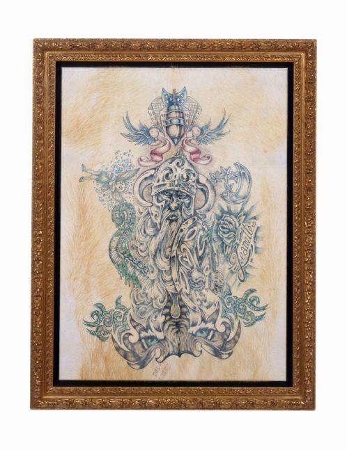 framed tattooed pigskin