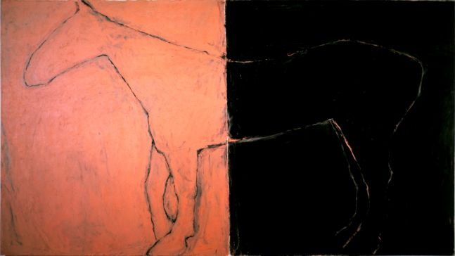 profile view of the outline of a horse on a two-tone canvas of sienna and black
