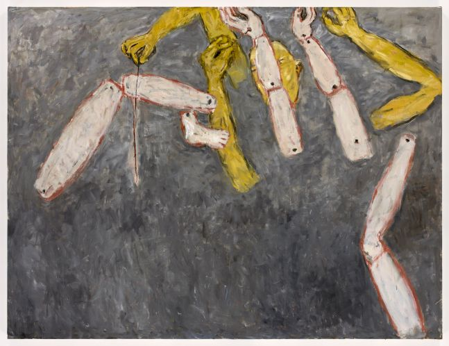 yellow and flesh colored limbs floating over a grey background