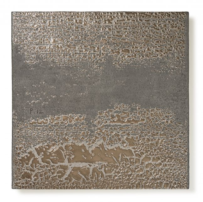 square ceramic panel with a platinum glaze in an abstract pattern