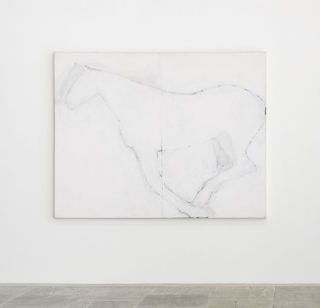 monochromatic white painting of the profile of a horse in motion