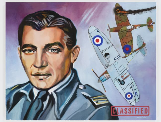 portrait of an English fighter pilot with two biplanes in the background to the right side of the canvas