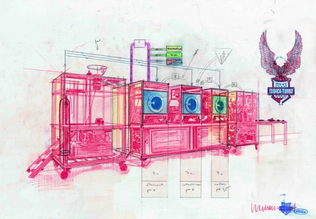 schematic drawing of a cloaca machine in pink, blue, green and yellow