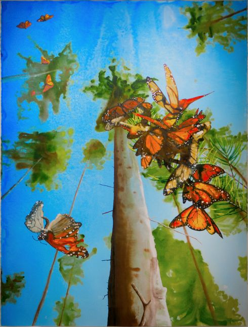 colorful watercolor of monarch butterflies flying around a tall tree in the forest