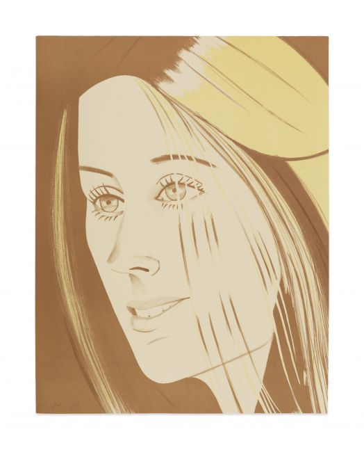 Lithograph by Alex Katz of a portrait of a woman at 3/4 view using brown tones against a brown background and featuring blonde highlights in her hair