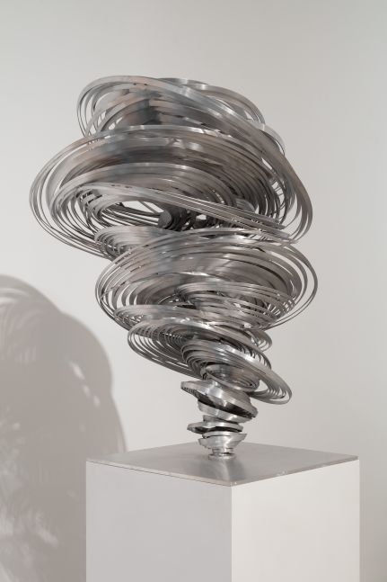 Aluminum twisted sculpture by Alice Aycock
