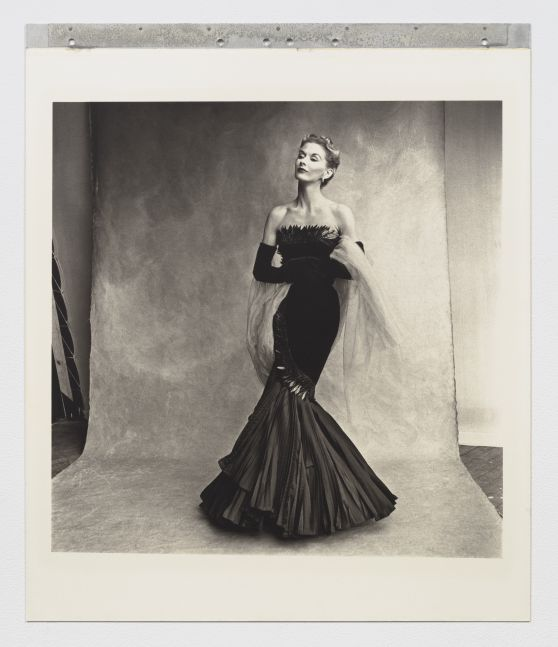 Black and white photographic portrait of a woman in a black mermaid style dress.