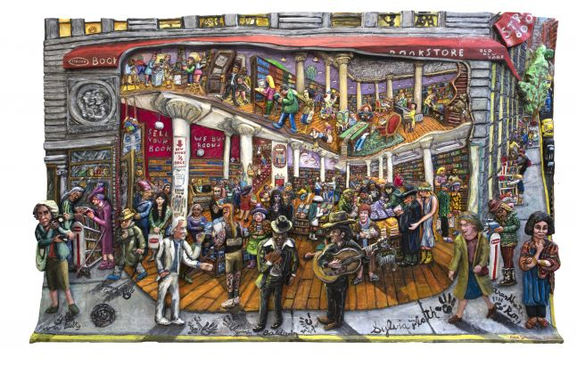 Acrylic, ink, mixed media and epoxy mounted on wood artwork by Red Grooms featuring the outside view of the Strand filled with many figures in exaggerated perspective