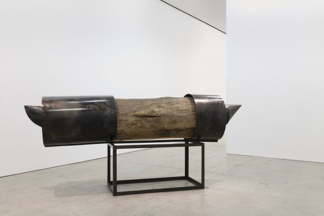 Sculpture by Magdalena Abakanowicz featuring a log with iron wrappings and an iron cage