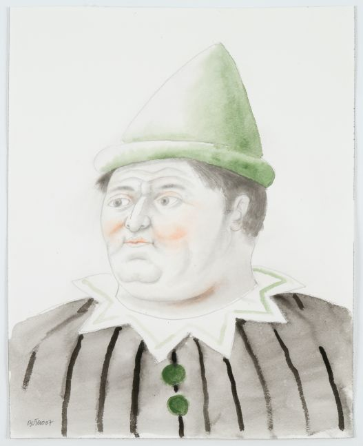 Watercolor painting of a clown with a green conical hat.
