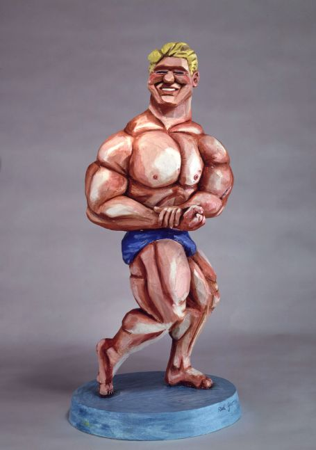 A Red Grooms sculpture depicting an exaggerated bodybuilder.