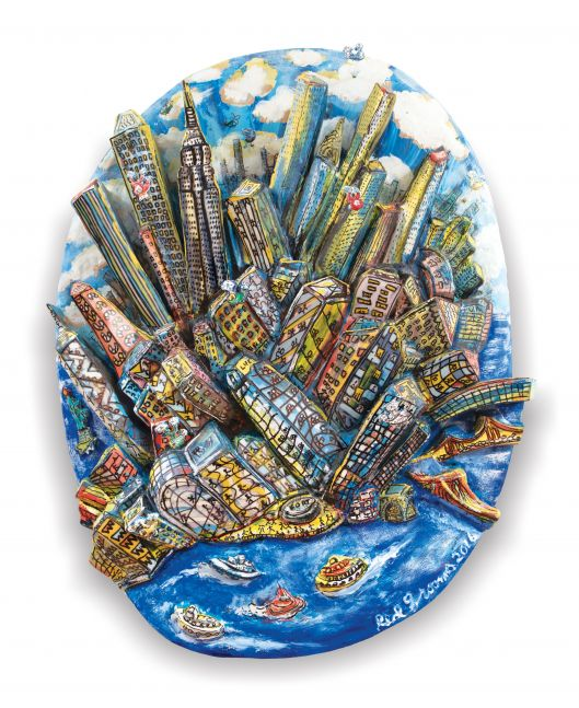 Acrylic, ink, mixed media and epoxy mounted on wood artwork by Red Grooms of a bird's-eye view of Manhattan featuring a blue cloudy sky, many buildings, and boats in motion