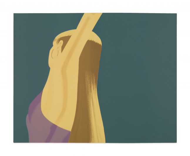 Color lithograph by Alex Katz featuring the side of a woman dancing with her arms stretched above her head and wearing a lavender top and gold hoop earrings against a blue background