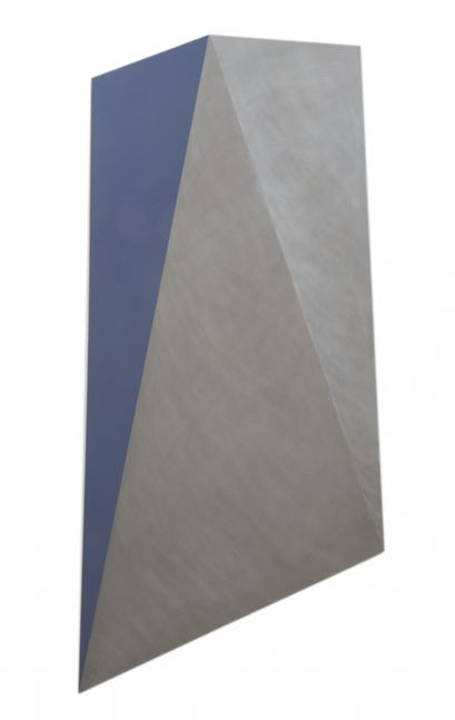 Blue enamel on an aluminum geometric piece