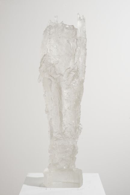 Cylindrical cast glass sculpture with rectangular base by Michele Oka Doner.