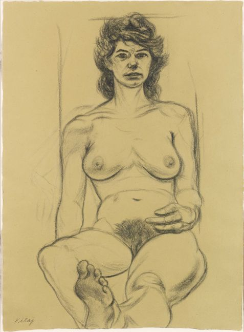 Charcoal sketch depicting frontal view of nude woman by R.B. Kitaj.