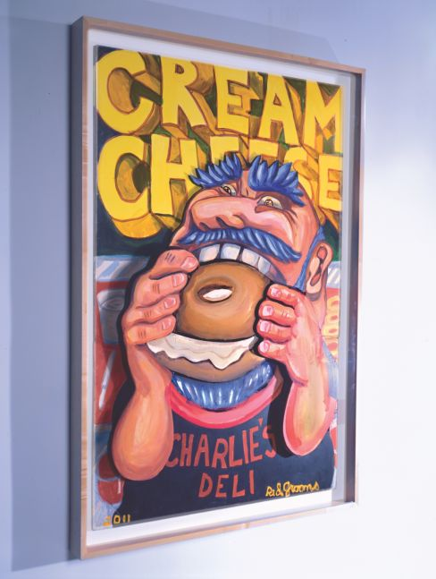 A Red Grooms style portrait of a man with blue hair eating a bagel.