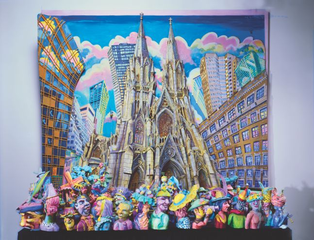 Mixed media construction by Red Grooms of a multi-dimensional scene outside of a cathedral surrounding by buildings and pink clouds. Sculpted figures wearing hats and in movement line the bottom of the canvas lining outside of the cathedral.