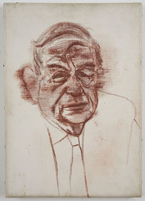 Oil painting depicting older man with auburn paint and white background by R.B. Kitaj.