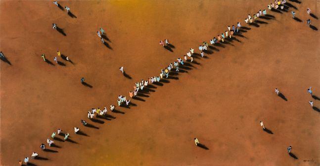 Aerial view depicting line of people on a burnt orange background by Juan Genovés.