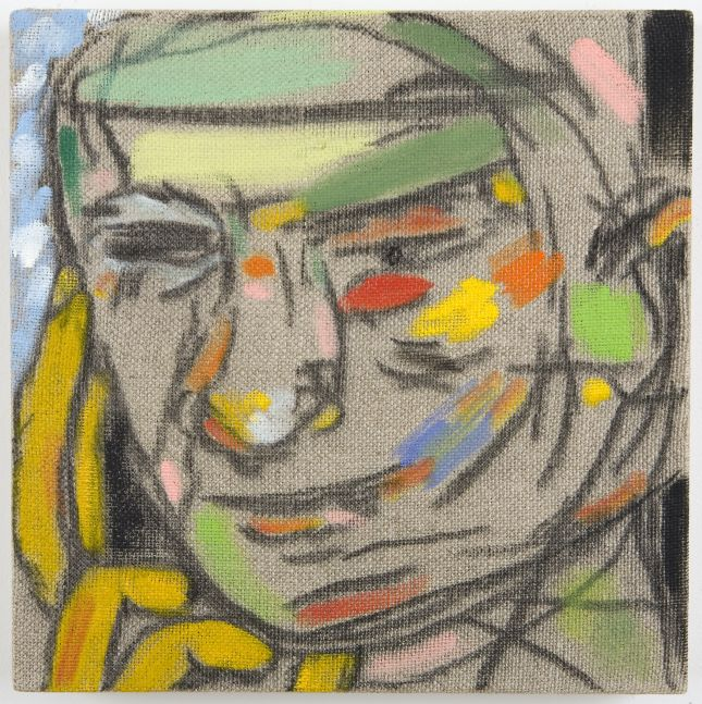 Abstract line painting of face featuring blocks of color.