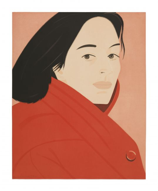Color aquatint by Alex Katz featuring the portrait of a woman with black hair wearing red jacket against a pink background