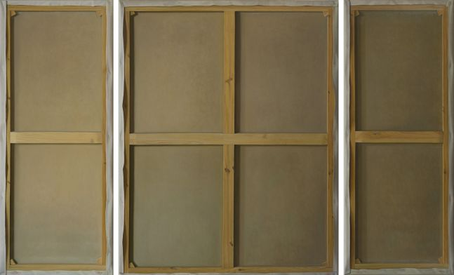 Triptych oil painting depicting the wood skeleton of the back of a canvas.