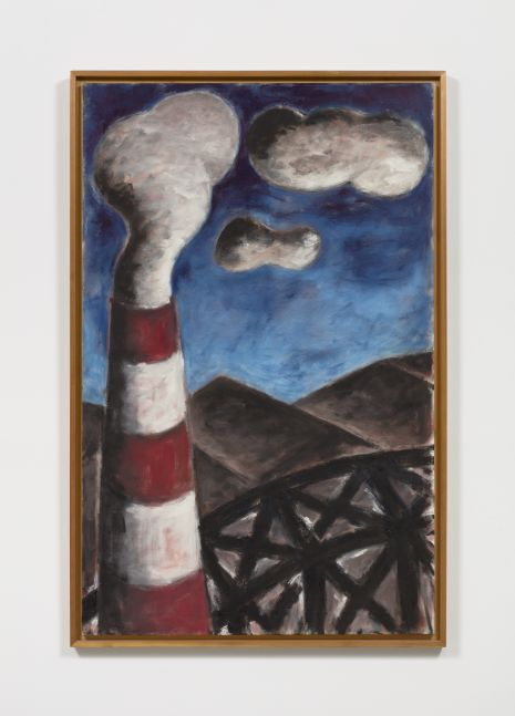 Framed oil on canvas vertical painting by Dieter Hacker of a landscape scene featuring a lighthouse and a blue sky