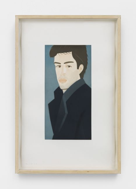 Framed color aquatint by Alex Katz of a portrait of a man with brown hair and wearing a blue coat against a blue background