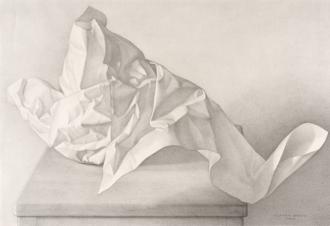 Pencil sketch of crumpled white paper.